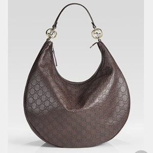 Chocolate brown GUCCI GUCCISIMA hobo